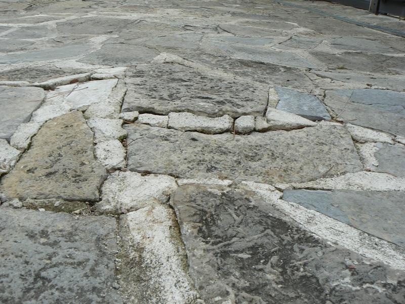 Opus soulevés par les racines radiales d'un pin parasol. Des tentatives de réparations des joints sont visibles.